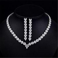 ingrosso gioielli in zircone-Luxury 3A Zircon Necklace Earrings Jewelleries Jewelleries Jewels Gioielli da sposa per la festa formale da ballo Prom Wear Set di gioielli