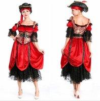 бесплатные сексуальные костюмы пиратов оптовых-Хэллоуин пиратскую тему костюмы Sexy Free Size Queen Dress Stagewear Реквизит