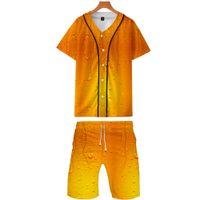 бейсбольная футболка печать оптовых-Пиво Bubble Drinks 3D-принт из двух частей Летние бейсбольные футболки + повседневные шорты 2019 года Модная уличная одежда