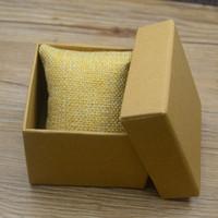 papier bijoux oreiller boîte achat en gros de-Boîte de montre de papier d'emballage de luxe de mode marron avec le paquet d'oreiller de cas de montres-bracelets boîtes affichage de cadeau de stockage de bijoux haute qualité