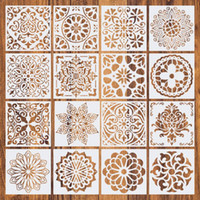 16pcs Set Reusable Stencil Cut Painting Template Floor Wall Tile Fabric Furniture Stencils Mandala Painting Stencils