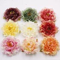 strauß flores artificiais groihandel-LOT 10PCS Große 12cm Pfingstrose-künstliche Blumen-Köpfe DIY Handgefertigte Headclip Kranz Crafts Wedding Bouquet flores artificiais