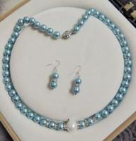 colar de pérolas azul claro venda por atacado-8MM Luz azul Shell pérola conjunto de colar brincos de jóias