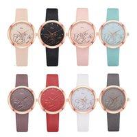 печатные браслеты оптовых-12019 Женщины Rhinestone Розы с цветочным принтом Циферблат из искусственной кожи ремешок кварцевые наручные часы