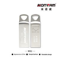 flash bellek kalem sürücüleri toptan satış-Su geçirmez RUsb Flash Sürücü USB 2.0 Flash Bellek Sopa Gümüş Metal Kalem Sürücü Disk Thumb Monvam M81 Için Üçgen Bir Delik Ile
