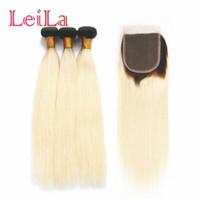 1b 613 örgü toptan satış-Leila Brezilyalı Düz Saç 1B 613 Ombre Sarışın 3/4 Kapatma ile Paketler Remy İnsan Saç Paketler Kapatma ile Örgü