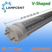 led ışıklar ampuller toptan satış-T8 V Şekli LED Tüp Ampul 2FT 3FT 4FT 5FT 6FT G13 Bi-Pin Çift Sıralı Cips Lamba ile LED Mağaza Işık Fikstürü Temizle Kapak Ile 2-100 Ampuller / Karton