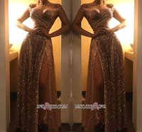 Wholesale cheap lights online - New Sparkling Off Shoulder Gold Sequined Prom Dresses Sexy Front Split Floor Length Evening Party Dresses Party Wear Cheap BC1409