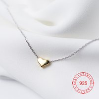 925 versilberte schmuckanhänger großhandel-14K reales Gold überzieht Herz 100% 925 Sterlingsilber-Halskette edlen Schmuck für Frauen Geschenk-reines Silber Halskette