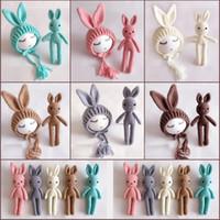 Wholesale handmade rabbit toys for sale - Group buy Baby Hats Neonatal Handmade Wool Rabbit Doll Long Ear Cap Baby Wool Toys Baby Long Ear Cap