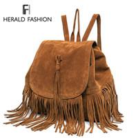Wholesale backpack faux leather resale online - Casual Women Backpack Mini Tassels Rucksack Fashion Solid Women Shoulder Bag Satchel Faux Suede Leather Mochilas School BagMX190822