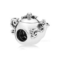 vasos de chá prateados venda por atacado-Novo 100% 925 Sterling Silver Enchanted Tea Pot Charme, Crystal Clear Charme Beads Fit Pandora Encantos Pulseira Jóias Diy Acessórios
