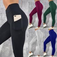 ince bacak pantolonunu gerin toptan satış-Cep Egzersiz Ile kadın Legging Yoga Spor Sıska Tayt Gym Spor Streç Fit Katı Koşu Ince Pantolon Legging LJJA2867