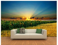 Wholesale sunflower stickers for wall resale online - custom size d photo wallpaper living room mural wheat field sunflower setting sun picture sofa TV backdrop wallpaper non woven wall sticker