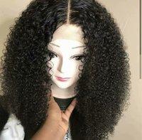 bakire brezilya afro peruk toptan satış-Afro Kinky Kıvırcık Tam Dantel Peruk Dantel Ön Peruk Bebek Saç 100% Siyah Kadınlar Için Brezilyalı İşlenmemiş Virgin İnsan Saç Peruk