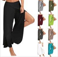 ingrosso pantaloni a gamba larga-2019 Womens 11-Colour Casual Pantaloni larghi per le gambe Yoga Femminili Allentati casuali di colore solido Signore Yoga Allentati Balance Pants Pantaloni di grandi dimensioni 4XL 5XL