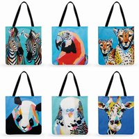Wholesale hand oil painting beach for sale - Group buy Oil Painting Animal Printed Tote Bag For Women Linen Fabric Bag Casual Foldable Shopping Outdoor Beach Daily Hand