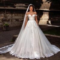 Wholesale maternity wedding dresses online - A Line Wedding Dresses Off Shoulder Vintage Crystal Lace Appliques Plus Size Maternity Arabic Beach Boho Bridal Gowns