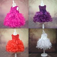 Wholesale girl clothe resale online - Baby Girl Princess Dress Bow Sash Pearl Sleeveless Tutu Dresses Baby Girl Dresses Girls Vest Ball Gown Dress Flower Girls Clothing M