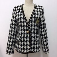 genietete plaidjacke großhandel-HIGH STREET New Fashion 2019 Designer Jacke Damen Single Button Rivet Plaid Tweed Wollmantel Jacke