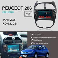 dvd del coche para vw touran al por mayor-YAZH Android 8.1 Octa Core gps navigation car dvd cd player para radio Peugeot 206 FM 2002 2003 2004 2005 2006 2007 2008 estéreo del automóvil