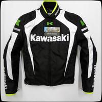 hombres kawasaki al por mayor-Chaquetas de moto KAWASAKI para hombres de estilo nuevo Ropa de carreras Con herradura de algodón extraíble y equipo de protección blanco y negro