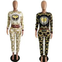 Wholesale digital printing yoga pants for sale - Group buy Women Digital Printing Tracksuits Colors Screw Thread Printed Long Sleeve Coat Pants set Outdoor Clothing Set LJJO6853