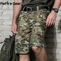 Wholesale army camo gear resale online - ReFire Gear Summer Rip stop Tactical Military Shorts Men Waterproof Camouflage Cargo Shorts Casual Loose Cotton Camo Army Shorts MX200324