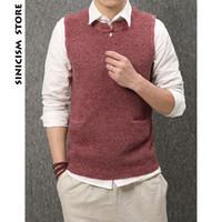 ingrosso maglione nero maglia-Sinicism Store Men Sleeveless Sweater 2018 Mens Tasche Maglioni pullover nero Vest Maschile coreano inverno solido Abbigliamento caldo