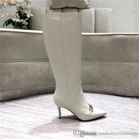 Wholesale dress with boots resale online - Ladies knee high high heels boots Pure color cowhide match with copper horse buckles atmosphere fashionable dress boot size