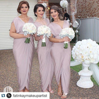 Wholesale ivory silver bridesmaid dresses for sale - Group buy African Long Sexy Plus Size Bridesmaid Dresses Sheath Ankle Length Front Split Deep V Neck Maid of Honor Evening Gown Party Dress