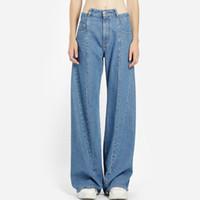 jeans projeta pernas venda por atacado-Primavera Verão 2019 Calças Elegantes Multi-Spliced Jeans Hong Kong Sabor Cintura Alta Personalidade Projeto Pés De Pernas Largas Calças Mulheres