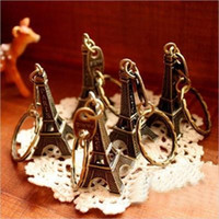 Wholesale Popular Promotion Party Gift Eiffel Small Tower Key Buckle Retro Iron Towers Pendant Keychains For Children dc H1