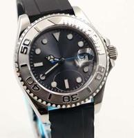 точечные наручные часы оптовых-Новая мода 40MM автоподзаводом Rubber Band Мужские часы Наручные часы черный циферблат с люминесцентными Серебряный тон руки и Dot час маркеры