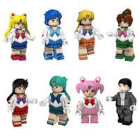 júpiter mercúrio venda por atacado-Janpan Anime Sailor Moon Mars Júpiter Vênus Mercúrio Chibi Chibi Neptune Chiba Mamoru Tuxedo Máscara Mini Toy Figura de construção de brinquedos bloco para a menina