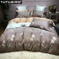 коричневая печать постельное белье оптовых- Egyptian cotton bedding set brown flower print bedlinen pure soft sheets Satin duvet cover pastoral princess bedspread