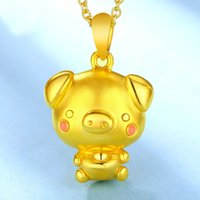 Wholesale 999 singapore gold for sale - Group buy Pure K Yellow Gold Pendant Women Gold YuanBao Pink Pig Pendant g