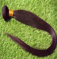 cheveux noirs non traités vierges achat en gros de-Jet Black Couleur 6a Non-Traités Vierges Raides Cheveux Raides 10-30 Pouces Ensembles de Cheveux Brésiliens 100% Cheveux Humains