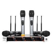каналы передатчика оптовых-WEISRE профессиональный микрофон 220-270MHz УКВ беспроводной микрофон портативный 4-канальный передатчик микрофон набор для караоке U-400 BA
