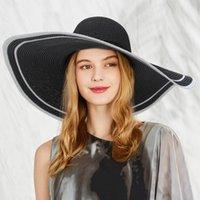chapéu de abas largas de palha preta venda por atacado-GEMVIE dobrável Floppy Black Hat Verão para as mulheres Chapéus de palha Nova na moda Chapéu de Sol Aba larga Praia Cap Lace Bow Papel Woven