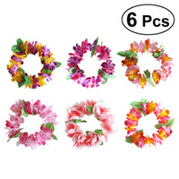 Wholesale hawaii flower headband resale online - 6pcs Flower Wreath Headband Headdress Hawaii Luau Tropical Decorative Wreath Headpiece Headwear Party Supplies