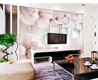 стена фантазийного цветка оптовых-Фото обои 3d Fantasy Flower 3D стерео коробка гостиная спальня фон отделка стен