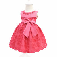 Wholesale suit red bow resale online - Kids Tuxedos Children s Clothing Suits Europe and America Princess Lace Skirt Baby One Year Old Blazers Dress
