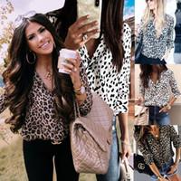bayanlar gündelik gömlekler yaka toptan satış-Kadınlar Leopard Baskı Gömlek Uzun Kollu Yatak açma Yaka Sonbahar Tişört Bayan Tasarımcı Giyim Lady Günlük Gömlek 07