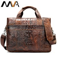 крокодиловый портфель оптовых-Men's Briefcase Crocodile Pattern Cowhide Leather Briefcases Mens Male Shoulder Bag Commercial Business Office Bags for Men 5555