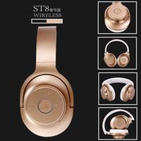 écouteurs bluetooth achat en gros de-Nouveau ST8 Head-headphones Bluetooth Headset sans fil appel FM radio plug carte mémoire casque cadeau boîte voiture