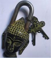 buddha shakyamuni statue großhandel-Buddhismus Bronze Shakyamuni Sakyamuni Buddha Kopfstatue Verschlussschlüssel