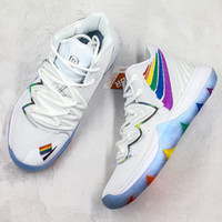Wholesale colorful sneaker laces for sale - Group buy Kyrie Basketball Shoes Irving Hot Sale Mens Designer Rainbow Colorful High Quality Knitting Team Outdoor Trainers Sports Sneakers