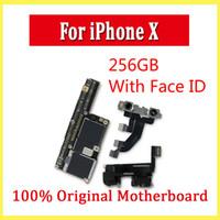 iphone motherboard mainboard großhandel-Motherboard für iPhone X ohne / mit Gesicht ID 64GB 256GB für iPhone X Motherboard entsperrt Mainboard mit vollen Chips