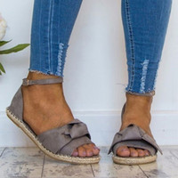 черные туфли на каблуке черные оптовых-Womens Sandals Plus Size 35-44 Flats Sandals Shoes Woman Peep Toe Casual Shoes Low Heels Sandalias Mujer Black